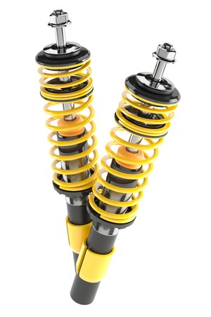 Car shock absorbers isolated white background 3d