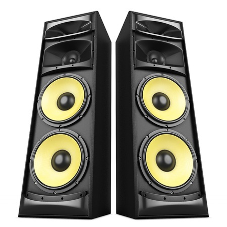 loud speaker: Power stereo sound system with yellow speakers isolated