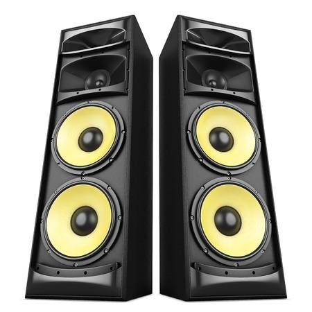 PARLANTE: Sistema de sonido estéreo de potencia con altavoces amarillos aislados Foto de archivo