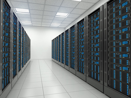 hosting: Server room in datacenter. Hosting services.