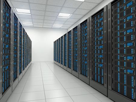 Serverruimte in datacenter. Hosting diensten. Stockfoto