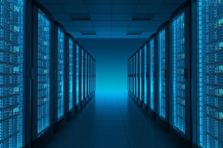 Server room in datacenter. Hosting services.