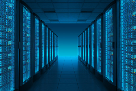 Serverruimte in datacenter. Hosting diensten. Stockfoto