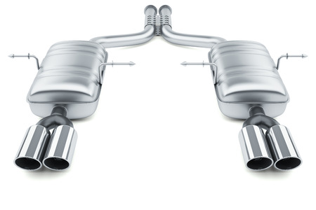 exhaust system: Exhaust pipes system isolated on white background 3d Stock Photo