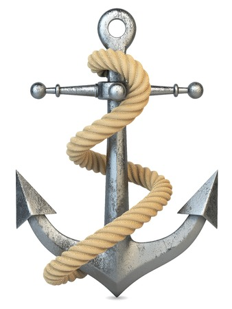 captain ship: Anchor and rope isolated on white background 3d Stock Photo