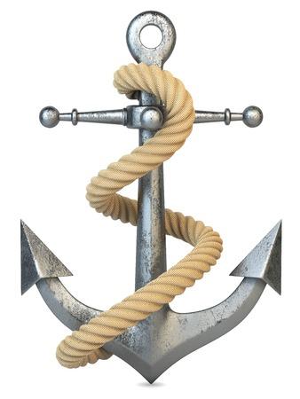 cadenas: Ancla y cuerda aislado en el fondo blanco 3d Foto de archivo