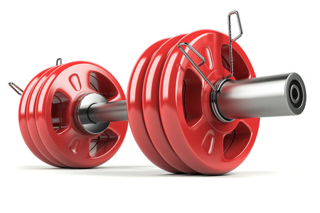 sporting goods: Dumbbell red isolated on white background 3d Stock Photo
