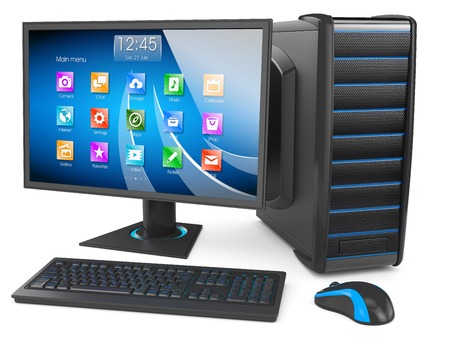 Desktop PC. Personal computer modern. Keyboard, display, mouse, tower case box. Isolated on white background 3d Standard-Bild
