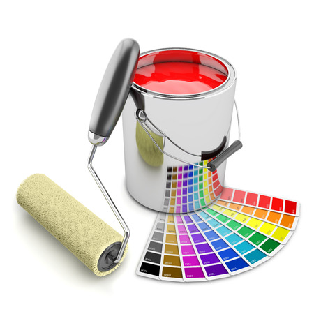 Paint can, palette and roller brush. Isolated on white background 3d