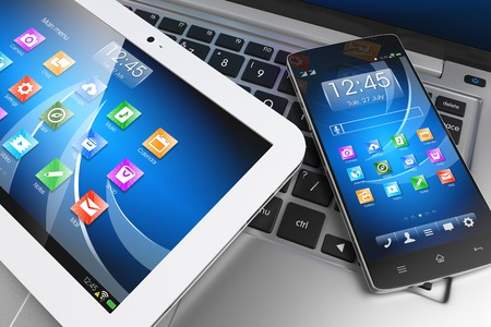 telecommunication: Mobile devices. Tablet PC, smartphone on laptop, technology concept. 3D Stock Photo