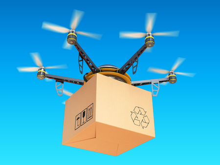 Drone express air delivery in sky, airmail concept. 3d illustration Archivio Fotografico