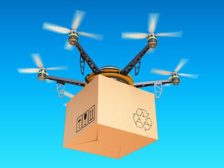 Drone express lucht in de hemel, luchtpost concept. 3d illustratie Stockfoto