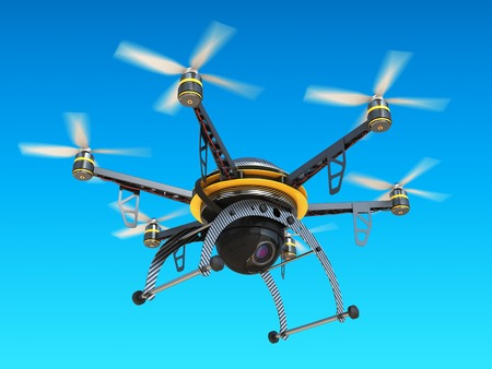 snooping: Carbon quadrocopter drone with digital camera in sky. Illustration, 3d