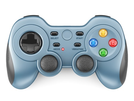 Niebieski kontroler Gamepad na białym tle 3d Zdjęcie Seryjne