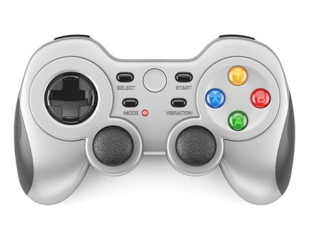 Zilveren gamepad controller op een witte achtergrond 3D