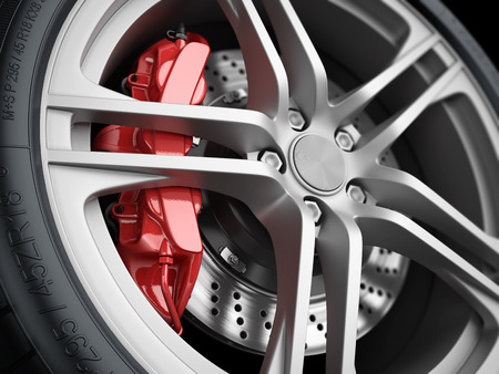 Car wheel and brake system. Red caliper, sport tire. Closeup. Illustration 3d