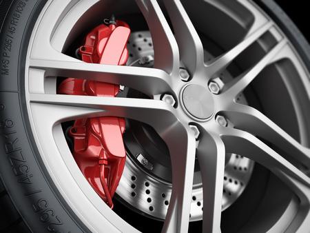 Roda de carro e sistema de freio. caliper vermelho, pneu desportivo. Fechar-se. ilustração 3d