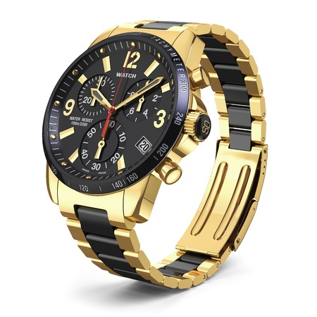 watch: Mens swiss mechanical golden wrist watch with stainless steel wristband and black dial, tachymeter, chronograph. Isolated on white background 3d Stock Photo
