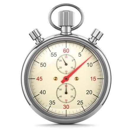 Stopwatch, timer op een witte achtergrond 3D-afbeelding