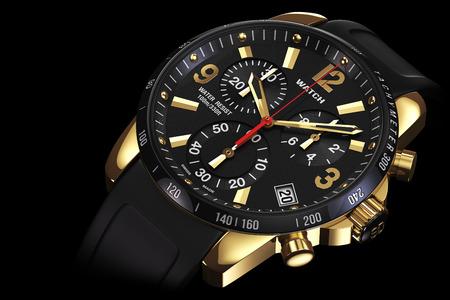 cronografo: Mens reloj de oro mecánico suizo muñeca con pulsera de caucho y esfera de color negro, taquímetro, cronógrafo en el fondo negro. Acercamiento. Ilustración 3d