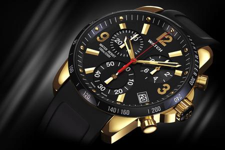 メンズ スイス ゴールデン メンズスチールアナログメカニカル腕時計ゴム製バンド、ブラック ダイヤル、タキメーター、クロノグラフ黒の背景に。クローズ アップ。図 3 d 写真素材 - 43619819