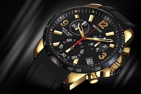 Mens swiss mechanical golden wrist watch with rubber wristband and black dial, tachymeter, chronograph on black background. Closeup. Illustration 3d Standard-Bild