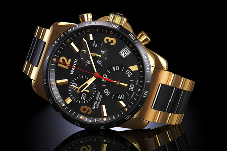 Mens swiss mechanical golden wrist watch with gold wristband and black dial, tachymeter, chronograph on dark reflection plane. Illustration 3d Archivio Fotografico