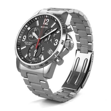 watch: Mens swiss mechanical wrist watch with stainless steel wristband and black dial, tachymeter, chronograph. Isolated on white background 3d Stock Photo