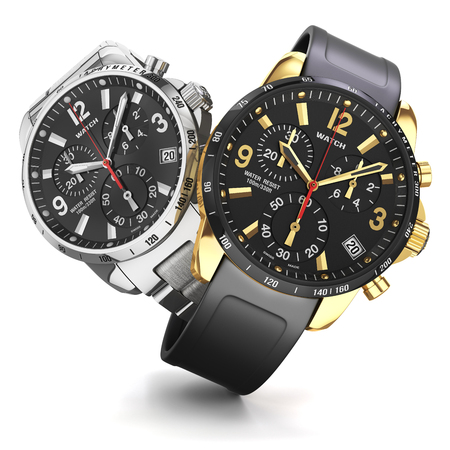Group of two mens swiss mechanical golden and steel wrist watches, rubber and  golden wristband, black dial, tachymeter, chronograph isolated objects on whte background. Closeup. Illustration 3d Archivio Fotografico