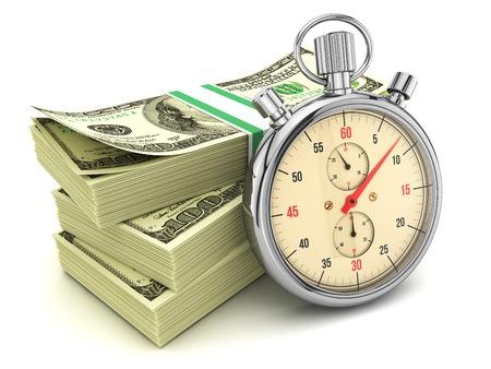 cash: Dólares de los billetes y cronómetro aisladas sobre fondo blanco, ilustración 3d