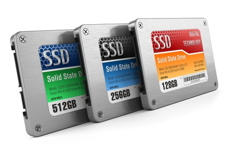 solid silver: SSD drives, State solid drives, isolated on white background 3d Stock Photo