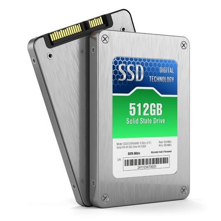 SSD-schijf, staat vast schijven op een witte achtergrond 3D-