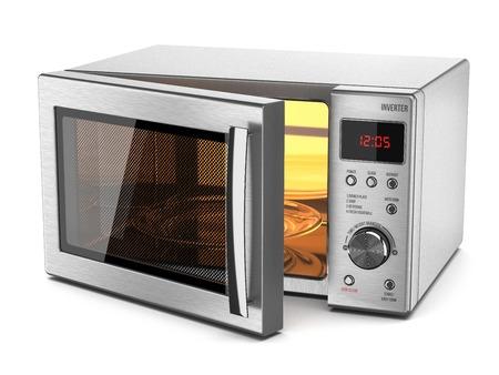 estufa: Estufa Microondas aislado en fondo blanco 3d Foto de archivo