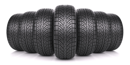 tire fitting: Car tires in row isolated on white background 3d
