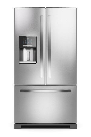 icebox: Home refrigerator. Silver home fridge isolated on white background 3d. Stock Photo