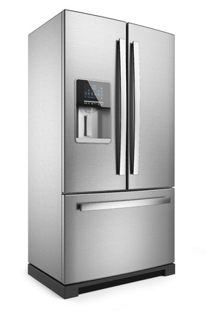 Home refrigerator. Silver home fridge isolated on white background 3d. Foto de archivo