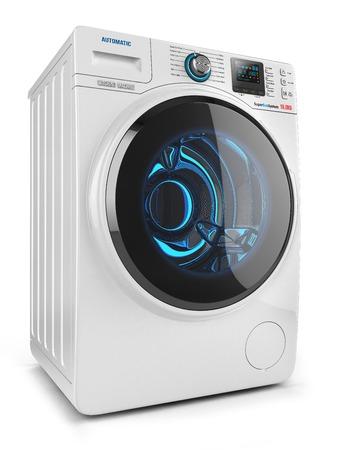 Wasmachine op een witte achtergrond 3D- Stockfoto