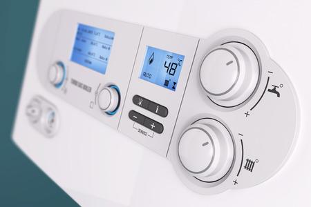Smart control panel household gas boiler closeup 3d Standard-Bild