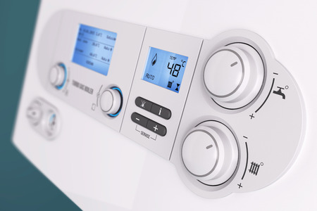 furnace: Smart control panel household gas boiler closeup 3d Stock Photo