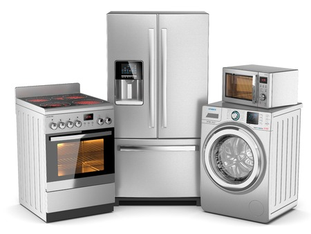 kitchen appliances: Home appliances. Group of silver refrigerator, washing machine, electric stove, microwave oven isolated on white background 3d