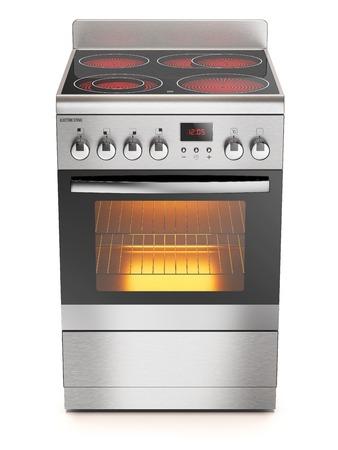 キッチンの電気コンロに分離白背景の 3 d 写真素材