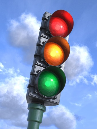 light green: Traffic lights on crossroads, sky background 3d