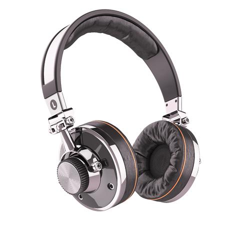 Retro headphones of black leather isolated on white background 3d