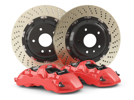 braking: Performance braking system, red calipers and perforated disks. Auto parts  isolated on white background 3d