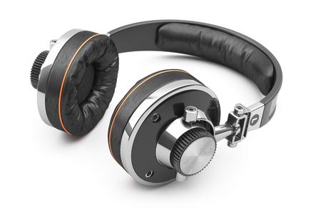黒革の白で隔離のヘッドフォンにレトロな 3 d の背景