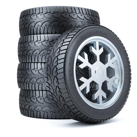 huellas de llantas: Neumáticos Conjunto de invierno, borde del copo de forma aislada sobre fondo blanco 3d Foto de archivo
