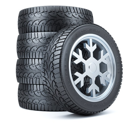 Set winter tires, rim of snowflake shape isolated on white background 3d