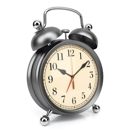 oversleep: Retro alarm clock isolated on white background 3d Stock Photo