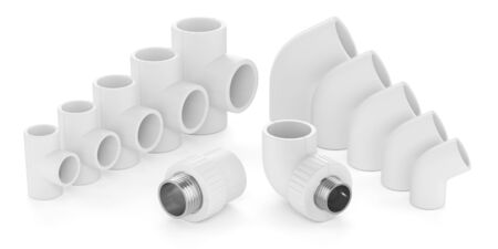 fittings: Set of plastic fittings for water pipeline isolated on white background 3d Stock Photo