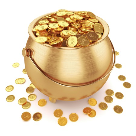 Olla de monedas de oro aislado en el fondo blanco 3d